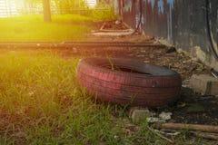 Unbrauchbarer Reifen Stockfoto