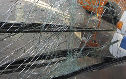 Unbreakable frontal glass damaged by crash in a public transport Royalty Free Stock Photography