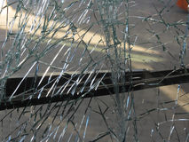 Unbreakable frontal glass damaged by crash in a public transport Royalty Free Stock Image
