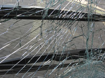 Unbreakable frontal glass damaged by crash in a public transport Royalty Free Stock Images