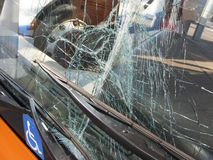 Unbreakable frontal glass damaged by crash in a public transport Royalty Free Stock Photos