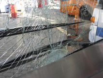 Unbreakable frontal glass damaged by crash in a public transport Stock Photo