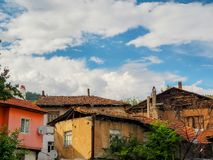 Unbricked old houses in turkey. Historic street view with blue sky stock photo
