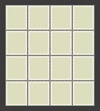 Unbroken sheet of postage stamps. Vector illustration. Set of st. Uncut sheet of blank postage stamps separated into panes. Vector illustration. Realistic empty Stock Photos