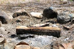 An unburnt log in a fire ring.  royalty free stock photo