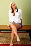 Unbuttoned fashion. Young woman poses wearing unbuttoned blouse with red bra and shorts Royalty Free Stock Photo