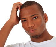 Uncertain black man Stock Photo