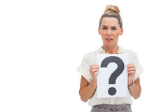Uncertain businesswoman with question mark Royalty Free Stock Photo