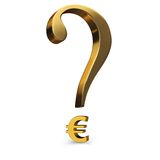 Uncertain Euro. A gold question mark incorporating a euro symbol as it's dot Royalty Free Stock Photo