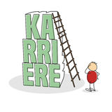 Uncertain stick figure wearing red shirt. Scratches his head and stands by tall stack of letters the word career in german with a ladder leaning against it Stock Image