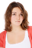 Uncertain teenage girl. Portrait of an uncertain teenage girl. All on white background stock photography