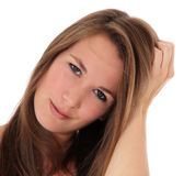 Uncertain young woman. All on white background stock images