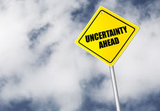 Uncertainty ahead sign. Over cloudy sky Royalty Free Stock Photo