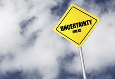 Uncertainty ahead sign Stock Images