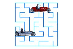 The uncertainty concept with businessman lost in maze labyrinth. Uncertainty concept with businessman lost in maze labyrinth Stock Photo