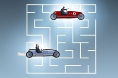 The uncertainty concept with businessman lost in maze labyrinth. Uncertainty concept with businessman lost in maze labyrinth Stock Image