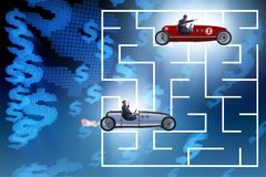 The uncertainty concept with businessman lost in maze labyrinth. Uncertainty concept with businessman lost in maze labyrinth Royalty Free Stock Photography