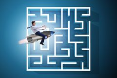The uncertainty concept with businessman lost in maze labyrinth. Uncertainty concept with businessman lost in maze labyrinth Stock Images
