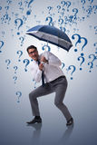 The uncertainty concept with businessman and question marks Stock Photography
