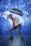 The uncertainty concept with businessman and question marks. Uncertainty concept with businessman and question marks Royalty Free Stock Photos