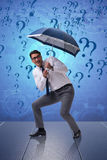 The uncertainty concept with businessman and question marks. Uncertainty concept with businessman and question marks Royalty Free Stock Photo