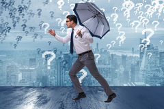 The uncertainty concept with businessman and question marks. Uncertainty concept with businessman and question marks Stock Photography