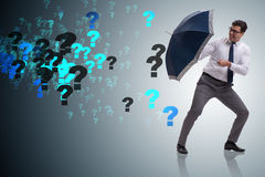 The uncertainty concept with businessman and question marks. Uncertainty concept with businessman and question marks Stock Image