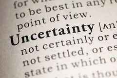 Uncertainty. Fake Dictionary, Dictionary definition of the word Uncertainty. including key descriptive words Royalty Free Stock Image