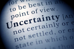 Uncertainty. Fake Dictionary, Dictionary definition of the word Uncertainty. including key descriptive words Royalty Free Stock Photos