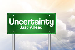 Uncertainty Just Ahead Green Road Sign Stock Image