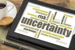 Uncertainty and risk word cloud on tablet Stock Photography