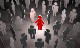 Uncertainty (symbolic figures of people). 3D illustration render Stock Images