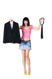 The girl chooses clothes Royalty Free Stock Photo