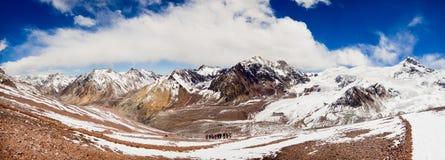 Вunch of climbers. Landscape on high 5000 m, Aqoncagua slope Stock Image