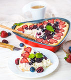 Вunch of wild berries and mint. Fruit pudding with berries and fresh mint Stock Image