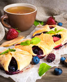Вunch of wild berries and mint. Fruit tarts with berries and fresh mint Royalty Free Stock Images