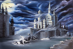 Uncharted. A fantasy ghost castle on a lost island under a dark eerie clouds. Original oil painting made with palette knife and brush in contemporary style vector illustration
