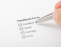 Unchecked feedback form. Decision moment after the service Stock Images