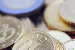 Uncirculated euro coins. Pile of uncirculated euro coins Stock Image