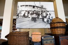 Ellis Island. Unclaimed baskets and trunks are left at Ellis Island as a reminder that legal immigrants left every behind except what they could carry on the Stock Images