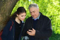 Uncle with his niece. Stock Images