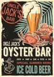 Uncle Jacks raw fish bar poster. Grunge old fashioned retro design for restaurant, cafe, bar, happy hours booklet, seafood brochure, raw bar leaflet, flyer or Royalty Free Stock Photography