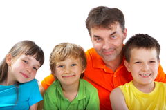 Uncle with nephews and niece Royalty Free Stock Photos