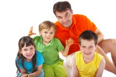 Uncle with nephews and niece stock images