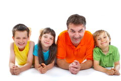 Uncle with nephews and niece royalty free stock image
