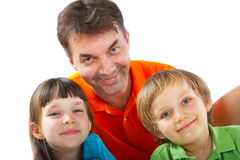 Uncle with niece and nephew. Happy family portrait of uncle with niece and nephew Royalty Free Stock Image
