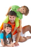 Uncle with niece and nephew Stock Photos