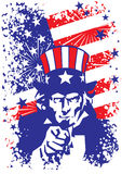 Uncle sam. Patriotic usa background uncle sam Royalty Free Stock Images