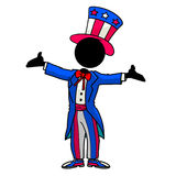 Uncle Sam. Silhouette-man cosplay - uncle Sam Royalty Free Stock Photography