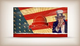 Uncle Sam. Patriotic usa background with uncle sam vector Royalty Free Stock Photos